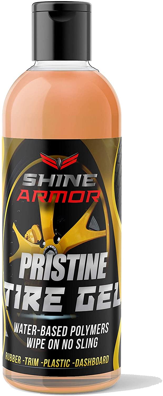 Shine Armor Pristine Tire Shine Dressing & Cleaner Gel – Car Care for Wheels & Tires – No Sling Formula – Wet Look – Keeps Tires Black – Water Based Polymers – Rubber, Trim, Plastic, Dashboard