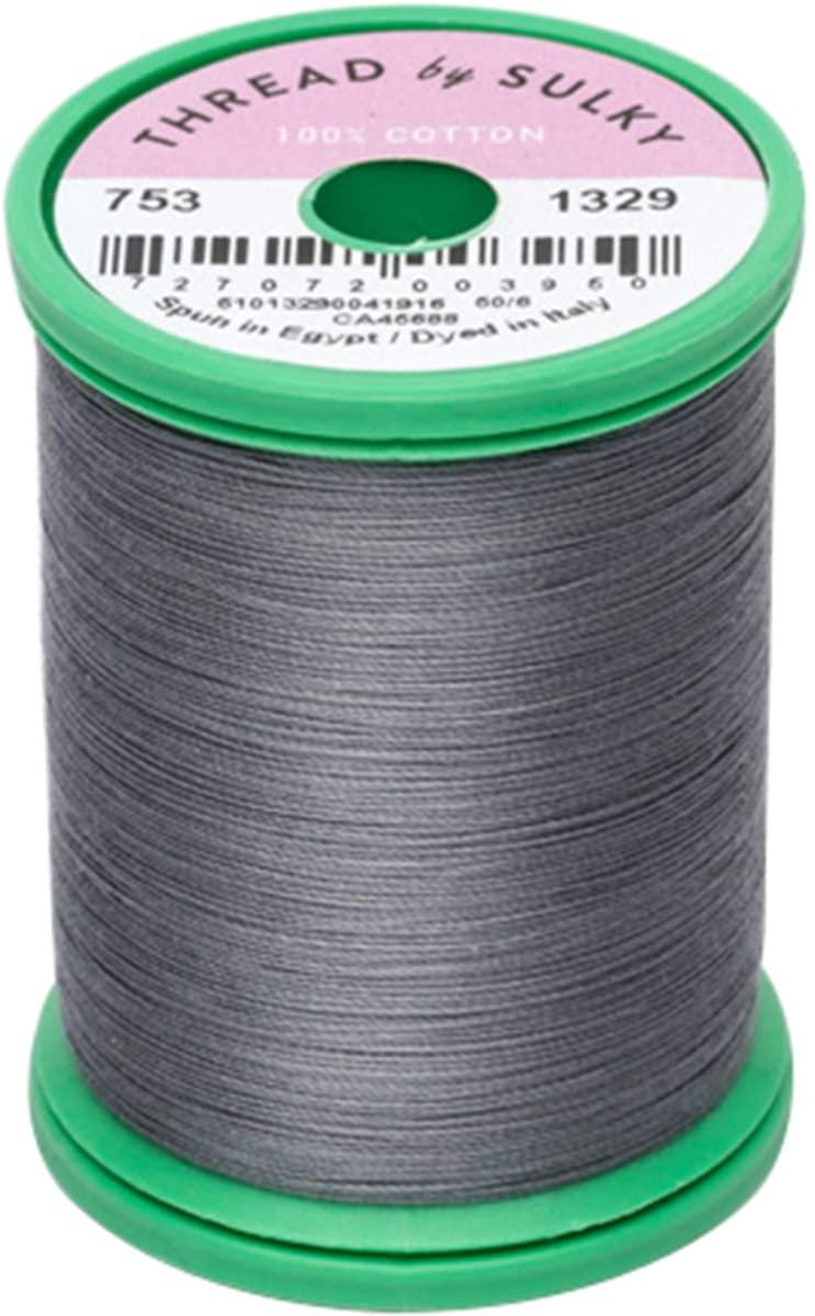 Sulky 753-1329 Cotton & Steel Thread 50wt 660yd, Dark Nickel Gray