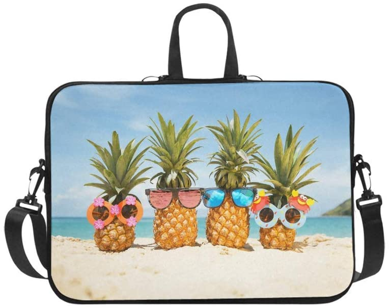 InterestPrint Funny Tropical Summer Beach Pineapples Wearing Sunglasses Laptop Sleeve Shoulder Bag with Handle & Strap, Notebook Computer Carrying Bag 17 17.3 Inch for MacBook Dell HP Acer Woman Man