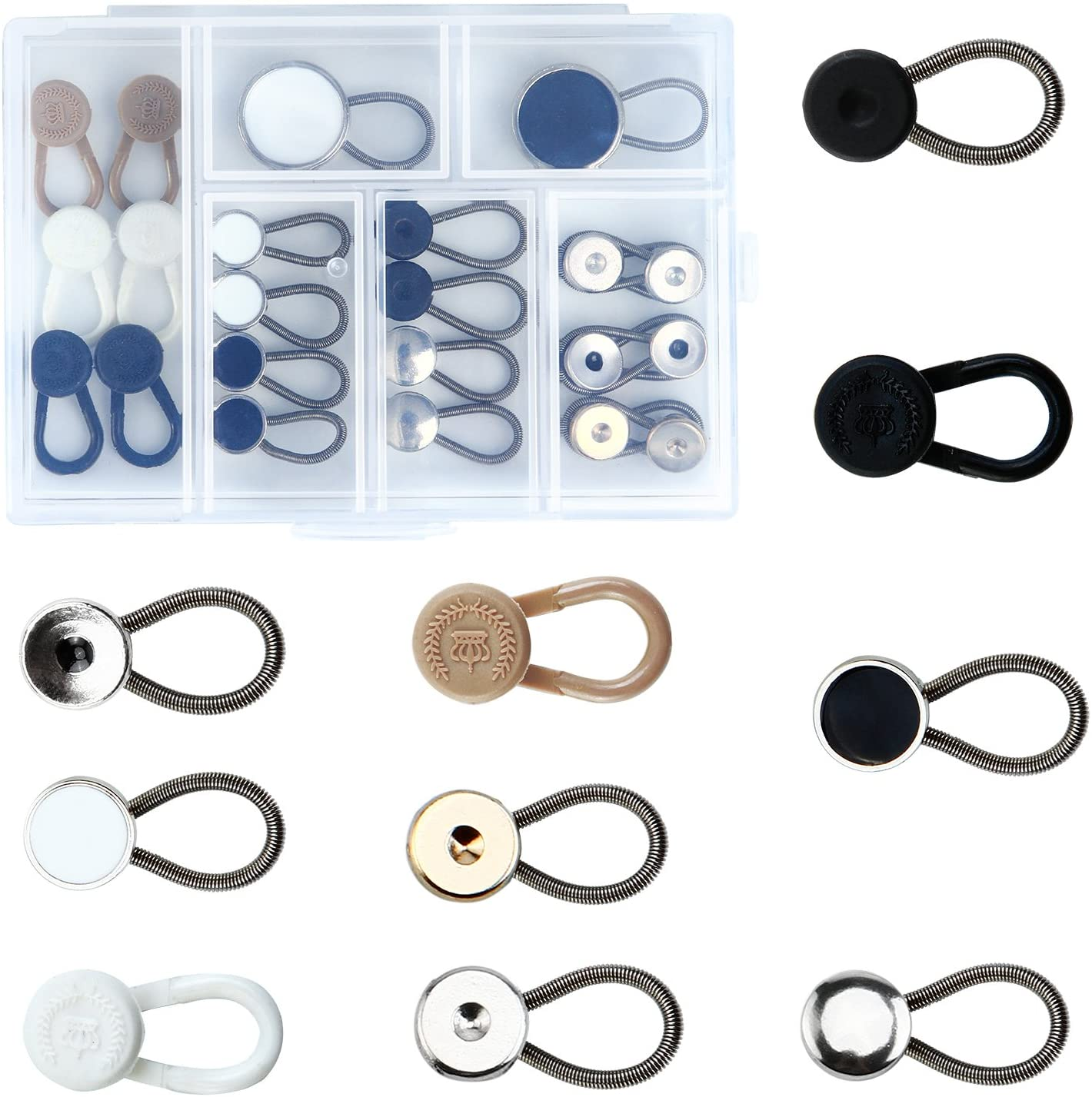 Aneco 22 Pieces Waist Extender Pants Extender Buttons Extender with Plastic Storage Set for Pants, Jeans, Trousers and Skirt