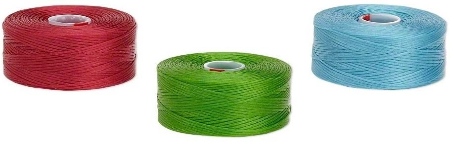 C-Lon Nylon Monocord Thread. Red Green Turquoise Size AA. 3 Bobbins of 75 Yards (225 feet)