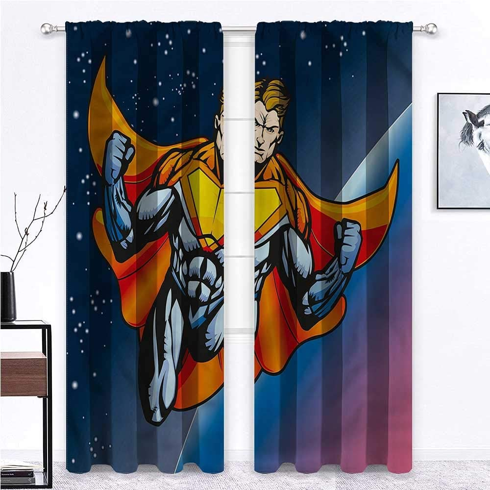 GugeABC Outdoor Curtains for Patio Waterproof Superhero Print Window Curtains Futuristic Male Space 96 x 84 Inch (2 Panels)