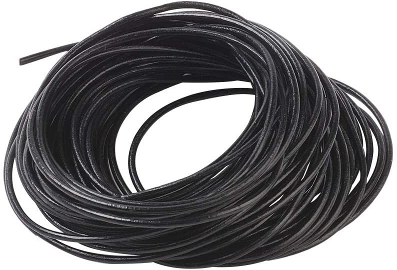 CHGCRAFT 5bundles Cowhide Leather Cord Round Shaped Thread Black Color Cord Leather Jewelry Cord Bracelets Necklaces Jewelry DIY Making Material 10m/Bundle 2mm