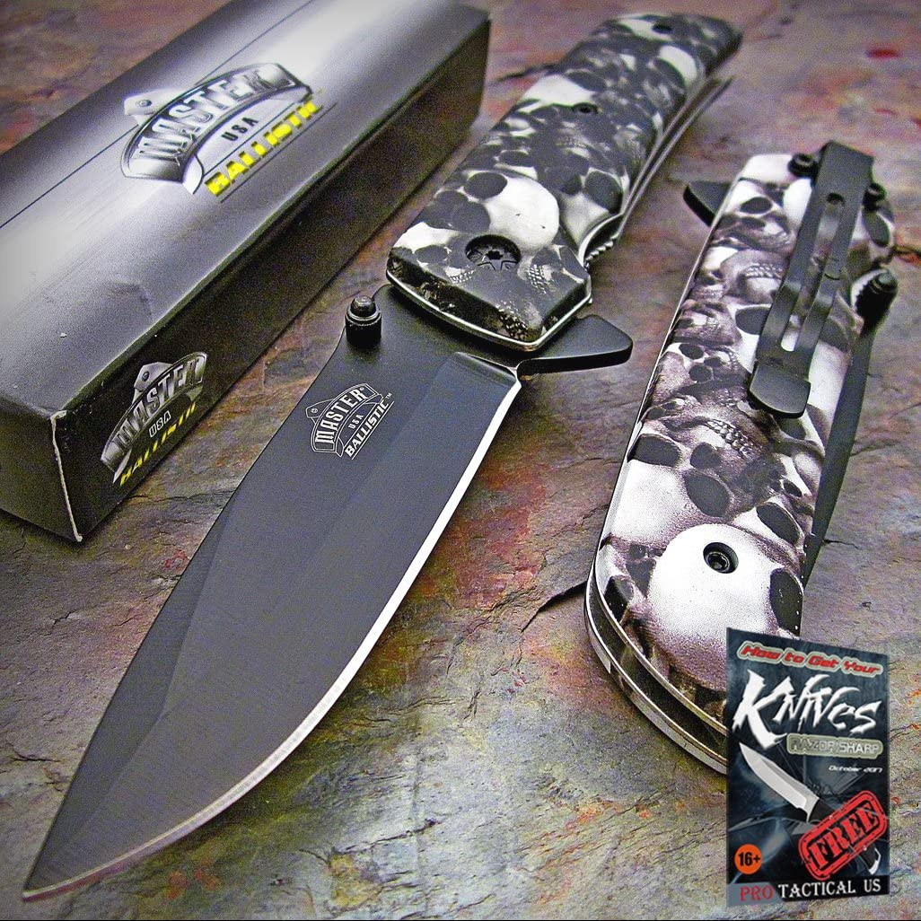 MASTER BALLISTIC Spring Assisted Open GREY SKULL CAMO Folding Blade Pocket Elite Knife + free eBook by ProTactical'US