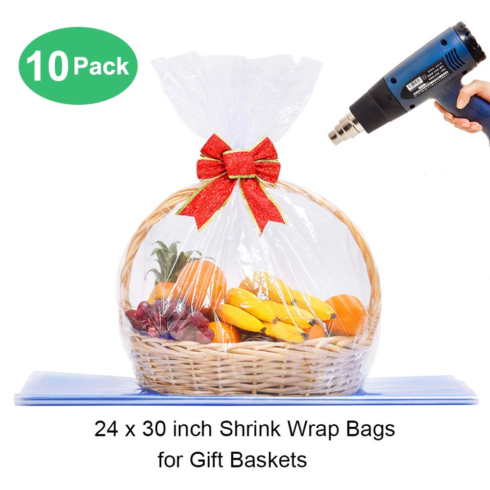 LazyMe Basket Cellophane Shrink Bags, 24x30 inch, Shrink Wrap Bags Large, Clear (10 Pcs)