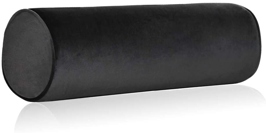 Tinbolunce Memory Foam Roll Pillow for Knee/Leg/Neck - Full Moon Bolster/Round Cylinder Pillow for Sleeping on Side or Back - Removable Cooling Cover Length 18