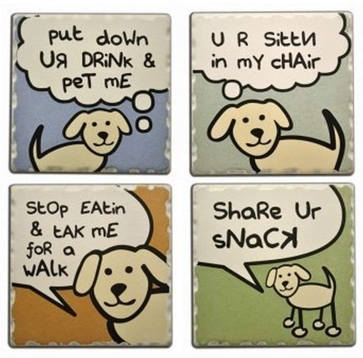 Dog Speak - Four Absorbent Stone Coasters - Funny Illustrated Dog Coasters