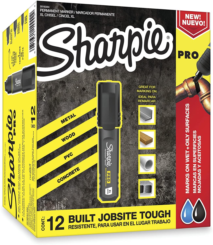 Sharpie Pro Permanent Marker, XL, Chisel Tip, Black, 12-Count Marker (2018344)
