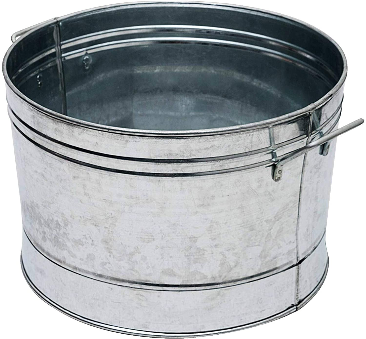 MISC Round Galvanized Steel Tub with Side Handles and Embossed Design Silver Handle