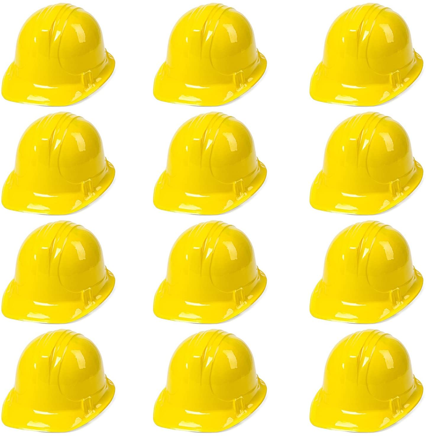 Anapoliz Yellow Construction Hats Toy for Kids Dress Up Theme Party Fun Pack   12 - Pack