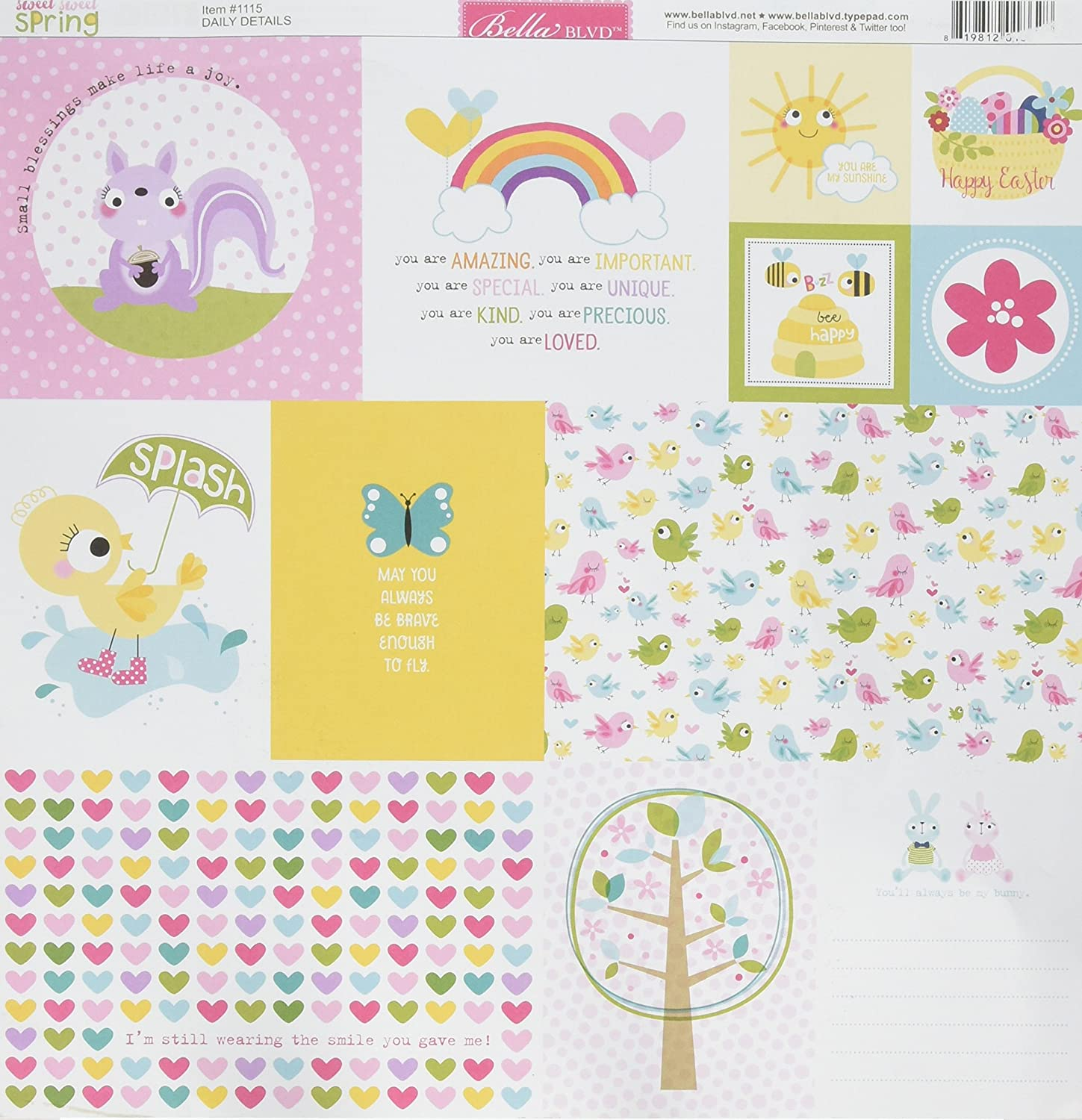 Bella Blvd 1115 Sweet Spring Double-Sided Cardstock (25 Sheet Per Pack), 12