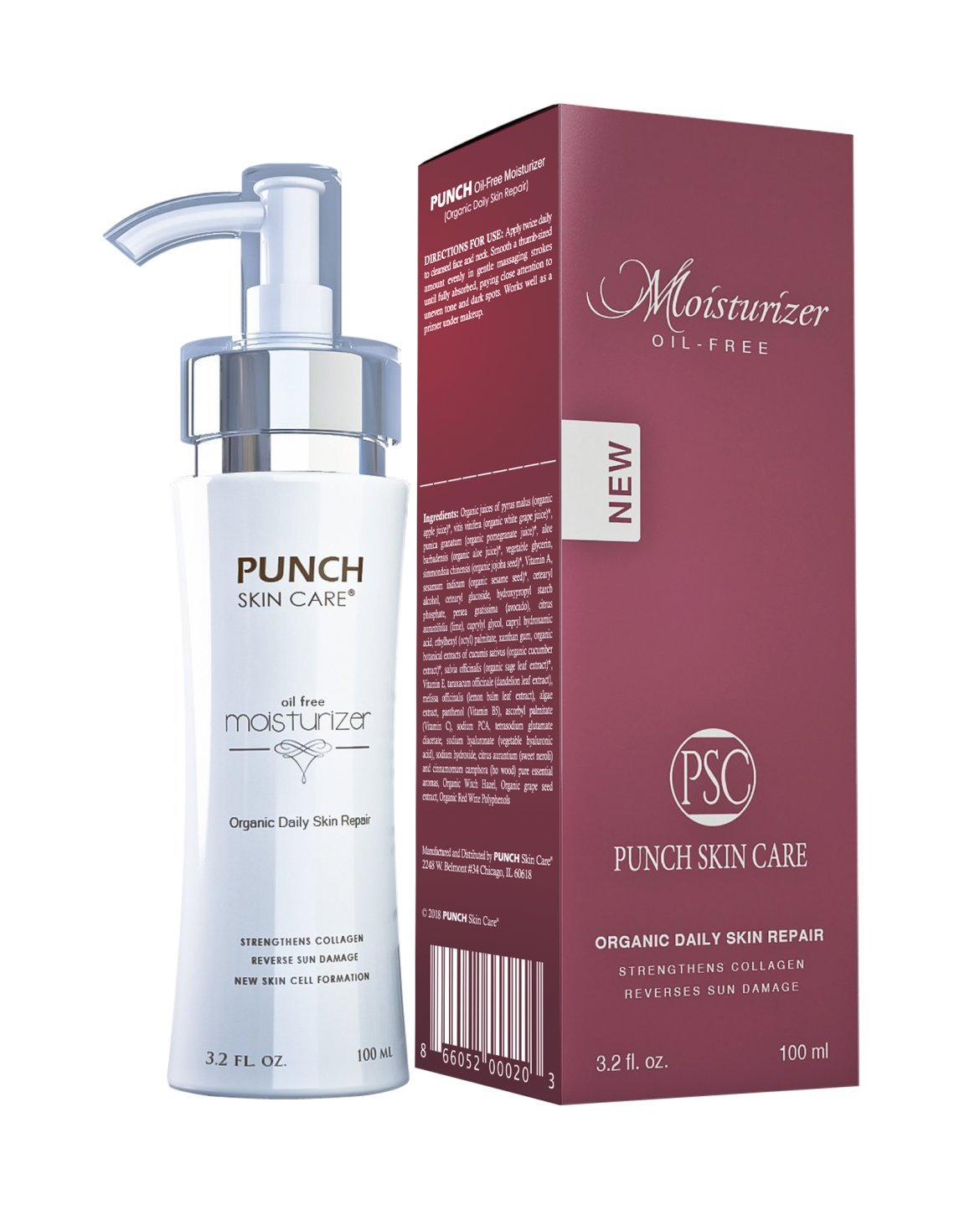 Upgrade Your Skin with Punch Skin Care Premium Daily Skin Repair Facial Moisturizer | All Natural Oil-Free Facial Moisturizing, (3.2 fl. oz)