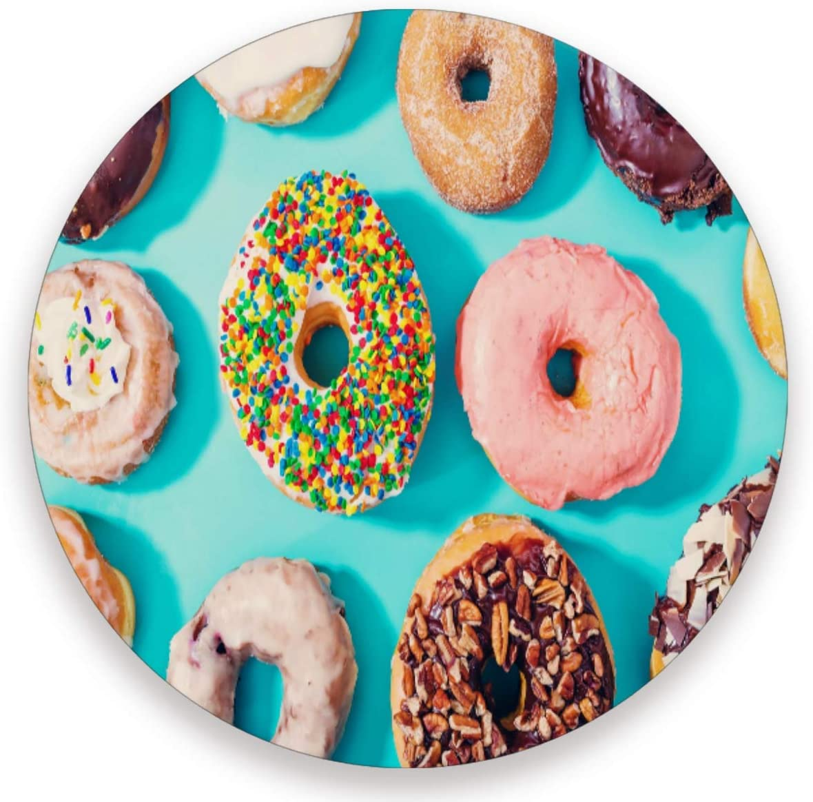 Olinyou Colorful Donut Blue Coaster for Drinks 1 Pieces Absorbent Ceramic Stone Coasters with Cork Base