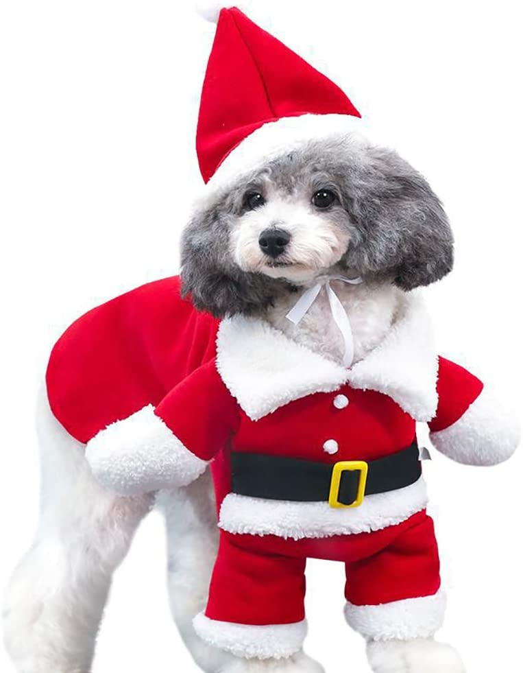 MaruPet Autumn/Winter Overall Santa Claus Costume Fleece Warm Four-Leg Jumpsuit Cosplay Outfit Custome for Teddy, Pug, Chihuahua, Shih Tzu, Yorkshire Terriers, Papillon Red M