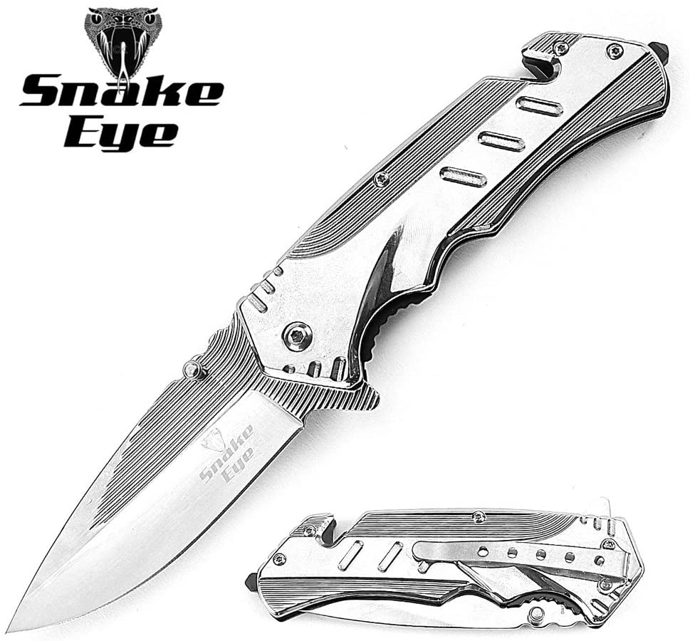 Snake Eye Tactical Heavy Duty Titanium Coated Handle Assisted Open Folding Pocket Knife Self Defense Everyday Carry (Silver)