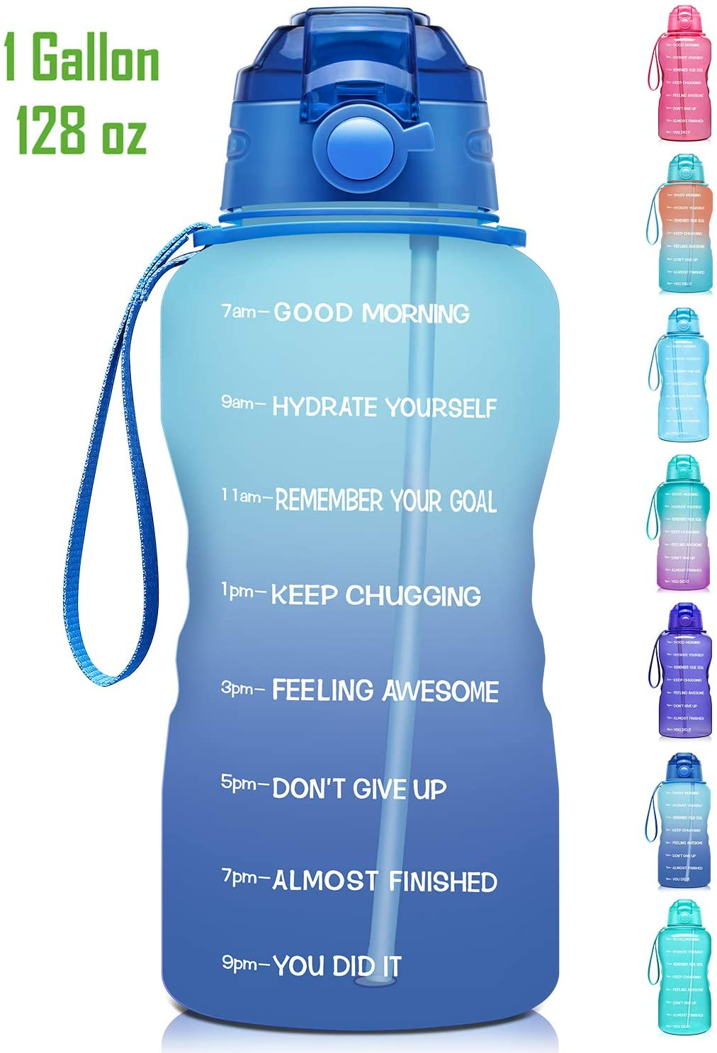 Giotto Large 1 Gallon/128oz Motivational Water Bottle with Time Marker & Straw,Leakproof Tritan BPA Free Water Jug,Ensure You Drink Enough Water Daily for Fitness,Gym and Outdoor