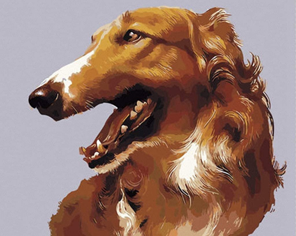 Vivid Brown Saluki Hand Painted Design Needlepoint Canvas A00260 (10CT Penelope,20 X 24)