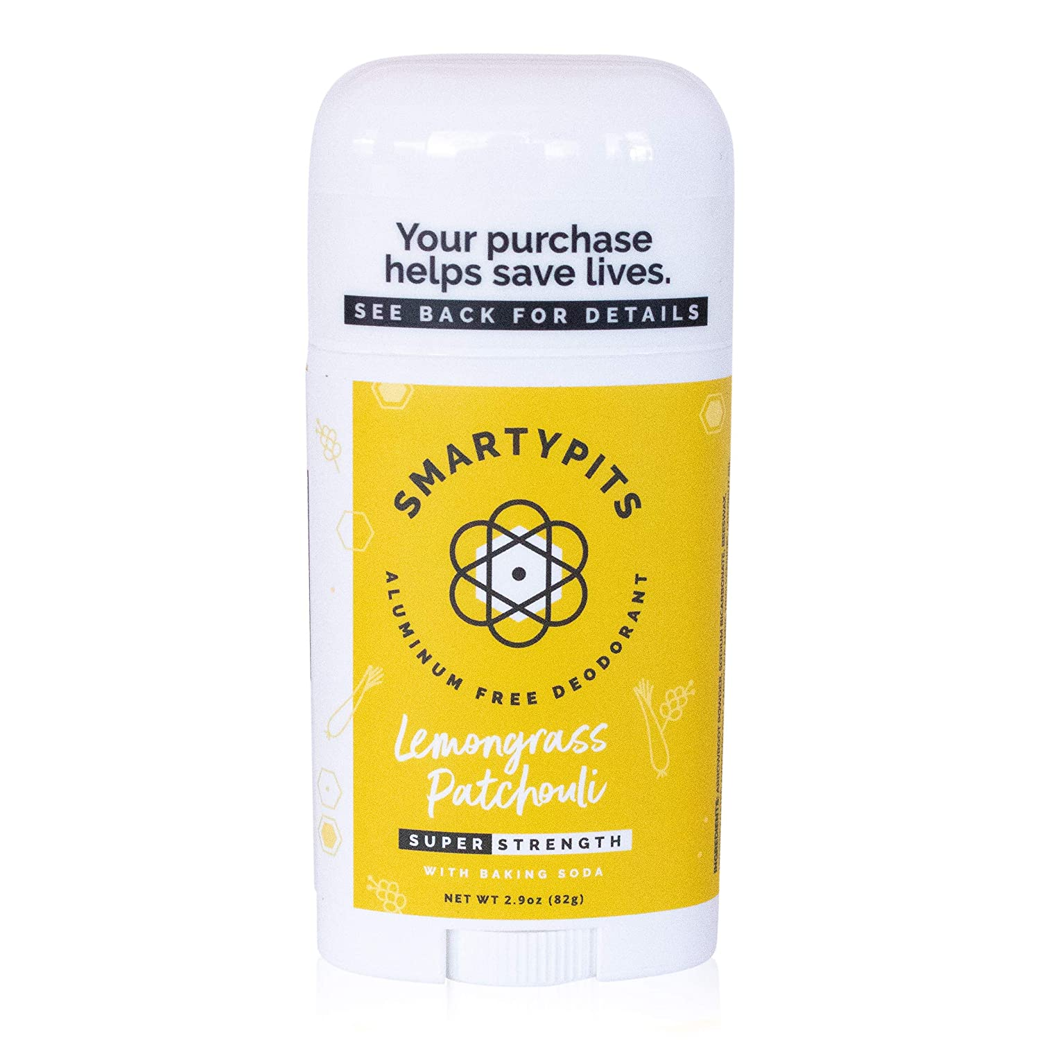 SmartyPits - Natural/Aluminum-Free Deodorant (with baking soda) Paraben Free, Phthalate Free, PROPYLENE GLYCOL FREE, Not Tested on Animals | 2.9oz (Lemongrass Patchouli)
