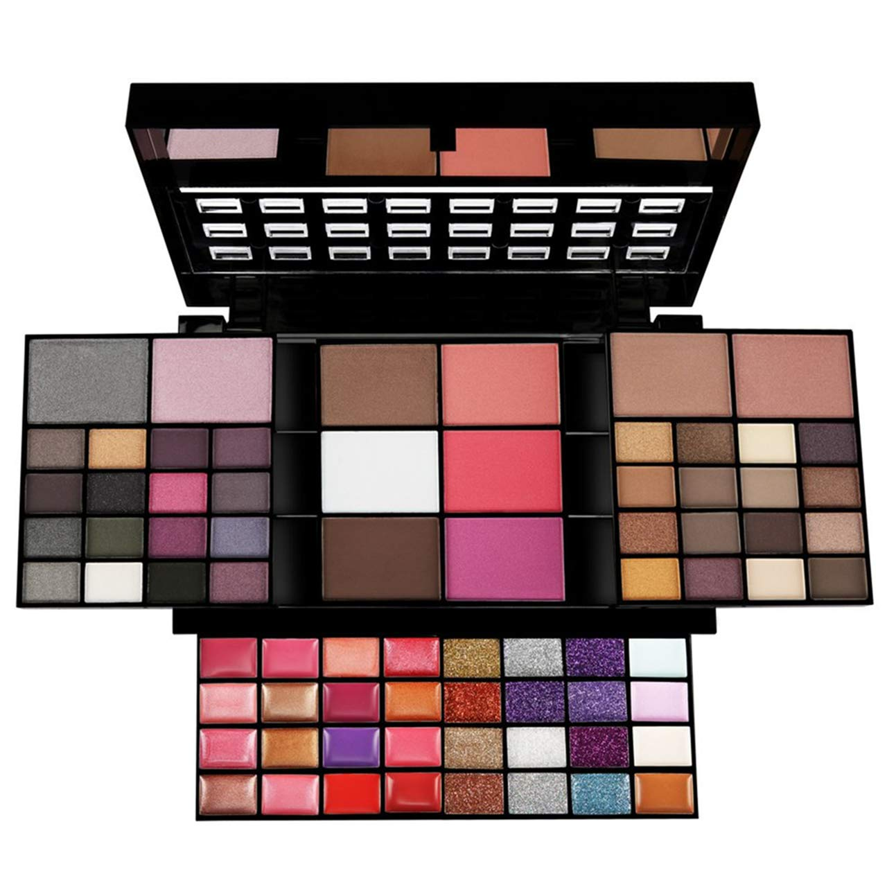 Pure Vie Pro 74 Colors All in one Makeup Gift Set including 36 Eyeshadow palette, 16 Lip Gloss, 12 Glitter Cream, 4 Concealer, 3 Blusher, 1 Bronzer, 2 Highlight and Contour - Make Up Contouring Kit