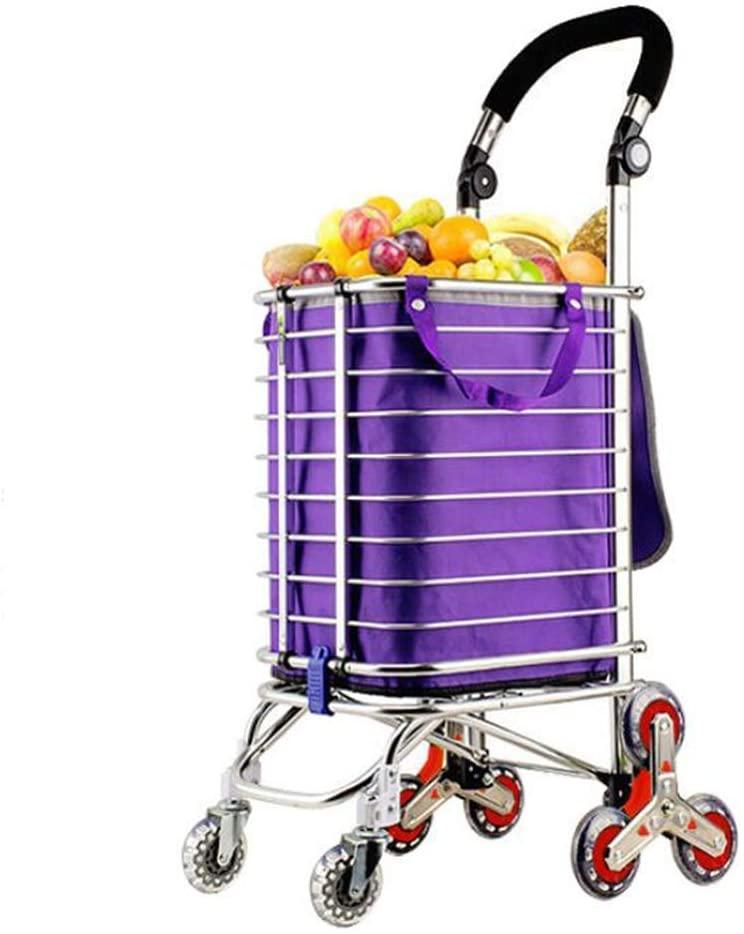 KFDQ Old Person Shopping Trolleys,Climbing The Shopping Cart, Aluminum Alloy Loading Cart, Small Cart, Portable Folding Cart, Supermarket, Shopping Cart