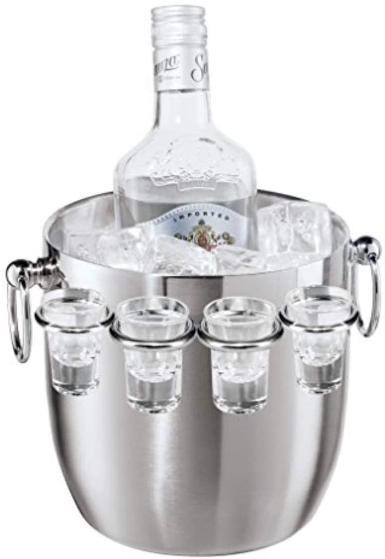 Oggi Ice Bucket with Shot Glass Set, 9-Piece, Stainless