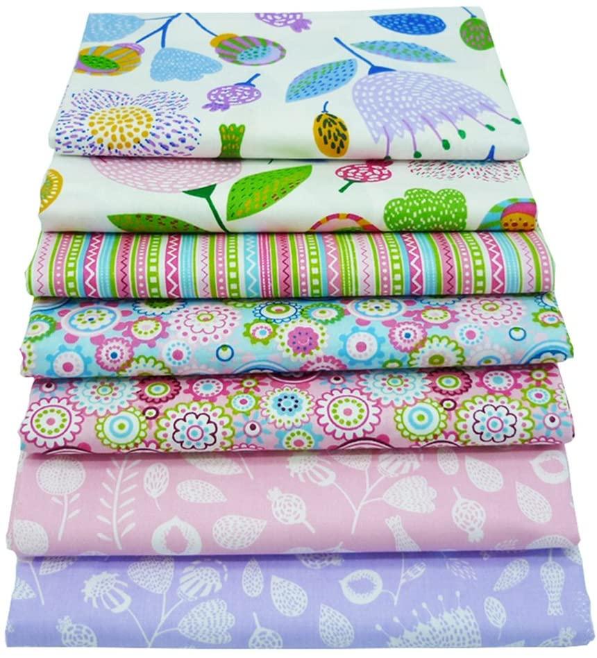 7Pcs Floral Printed 18 x 22 Fat Quarters Fabric Bundles for Patchwork Quilting,Pre-Cut Quilt Squaresfor DIY Sewing Patterns Crafts