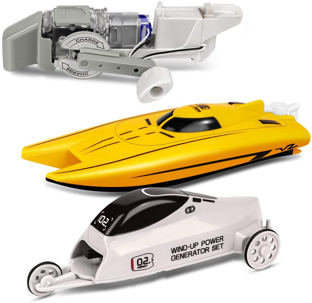 Talent Star Vehicle and Boat Set, STEM Educational Toy Car and Speedboat Kit, Wind-up Powered Charging by Cutting Magnetic Induction Line, Gift for Boys Kids
