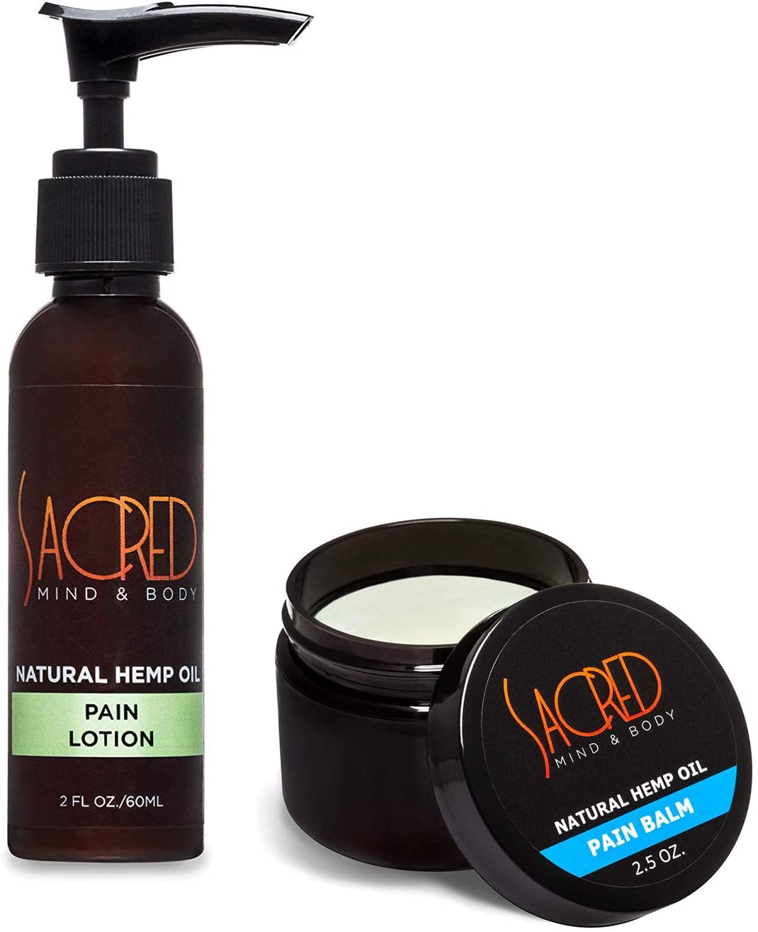 Hemp Sacred - 2 Ounce Lotion and 2.5 Ounce Balm for Pain, Joint, Muscle and Arthritis Relief