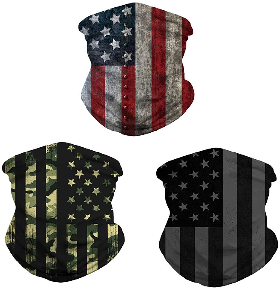 Neck Gaiter,3 Pcs American Flag Breathable Neck Bandana Motorcycle Face Covers for Women Men