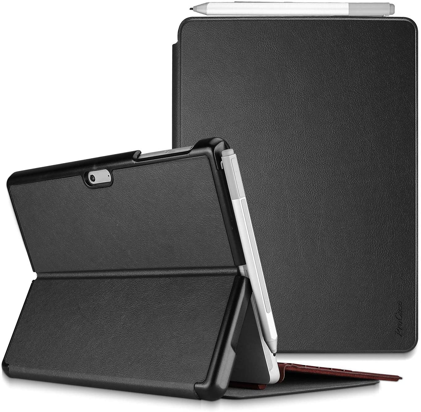 Procase Protective Case for Surface Go 2 2020 / Surface Go 2018, Slim Light Smart Cover Stand Hard Shell with Built-in Surface Pen Holder, Compatible with Surface Type Cover -Black