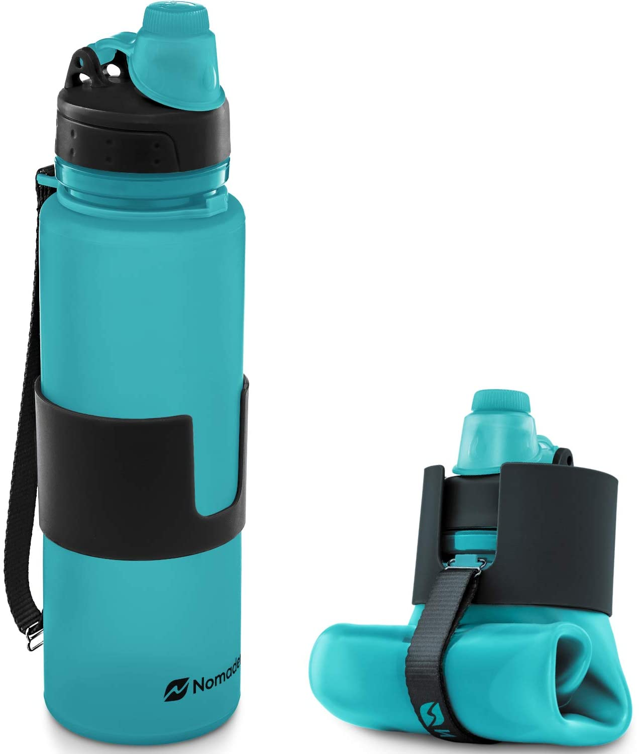 Nomader Collapsible Water Bottle - Leak Proof Twist Cap - BPA Free, 22 oz