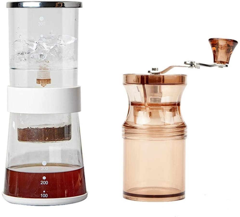 XUDREZ Coffee Maker Adjustable Ice Dropper Glass Cold Drip Coffee Machine Coffee Maker Coffee Grinder Glass Coffee Maker (Suit 2)