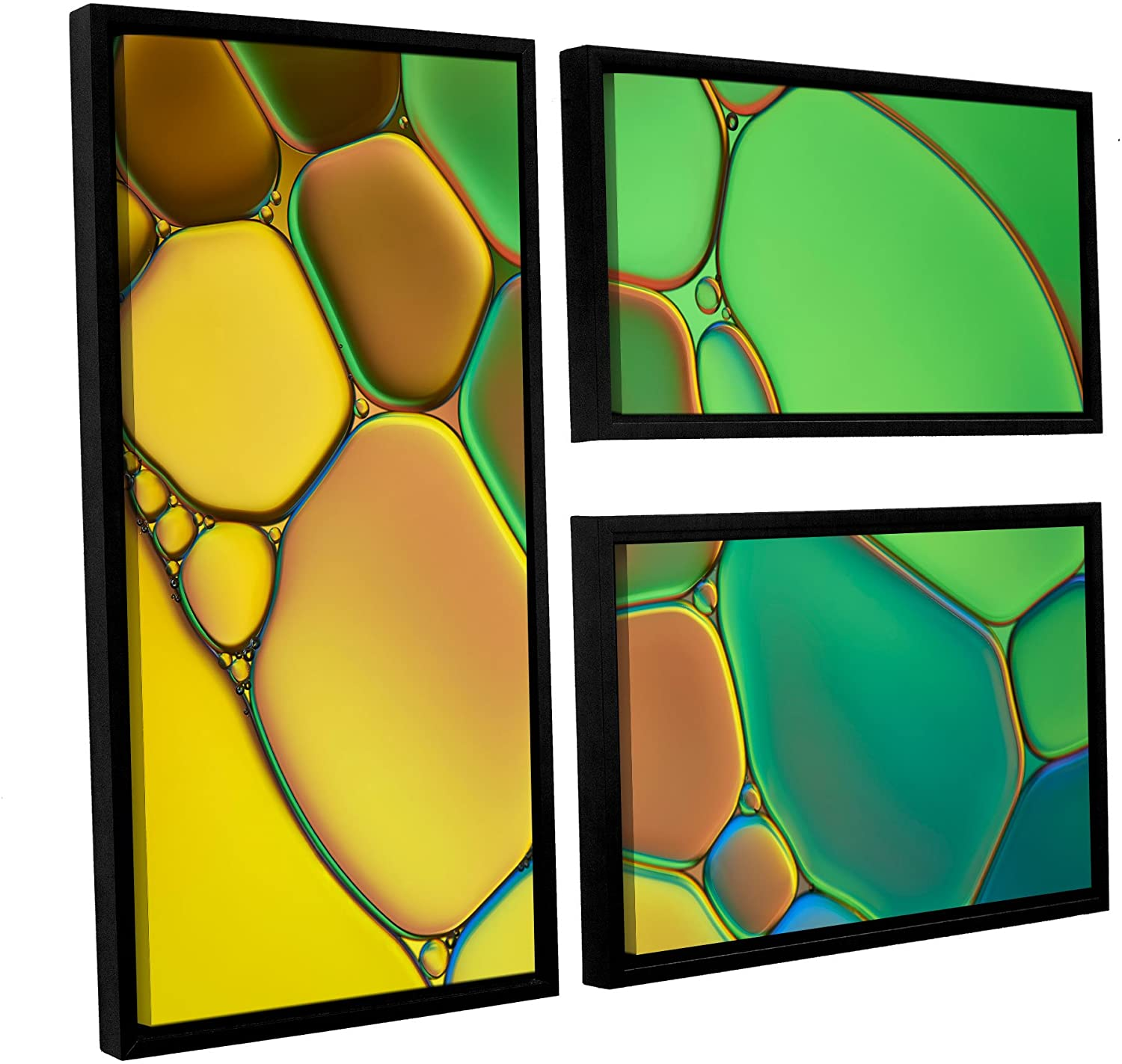 ArtWall Cora Niele's Stained Glass III 3 Piece Floater Framed Canvas Flag Set, 24 by 36