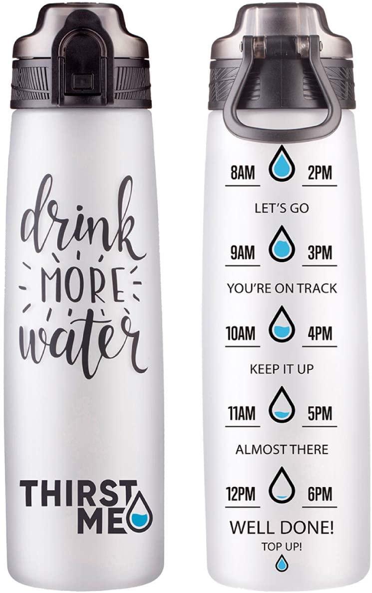 32oz Motivational Sports Water Bottle With Time Marker To Drink More Water-Leak Proof Flip Top Lid-BPA Free Tritan Reusable Drink Water Bottle(Black)