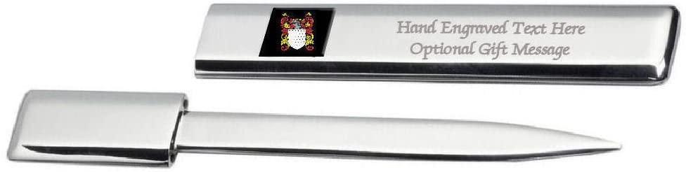 Greene Family Crest Surname Coat Of Arms Heraldry Engraved Letter Opener