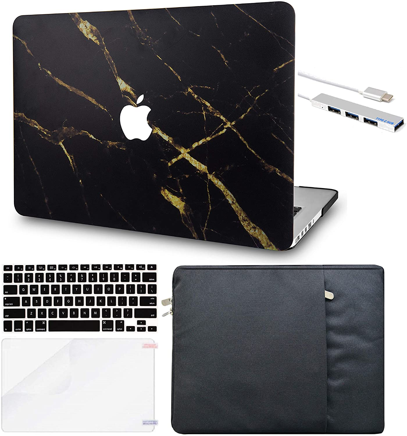 LuvCase 5in1 Laptop Case for MacBook Air 13 Inch (2020) A2179 Retina Display (Touch ID) Hard Shell Cover, Sleeve, USB Hub 3.0, Keyboard Cover&Screen Protector (Black Gold Marble)