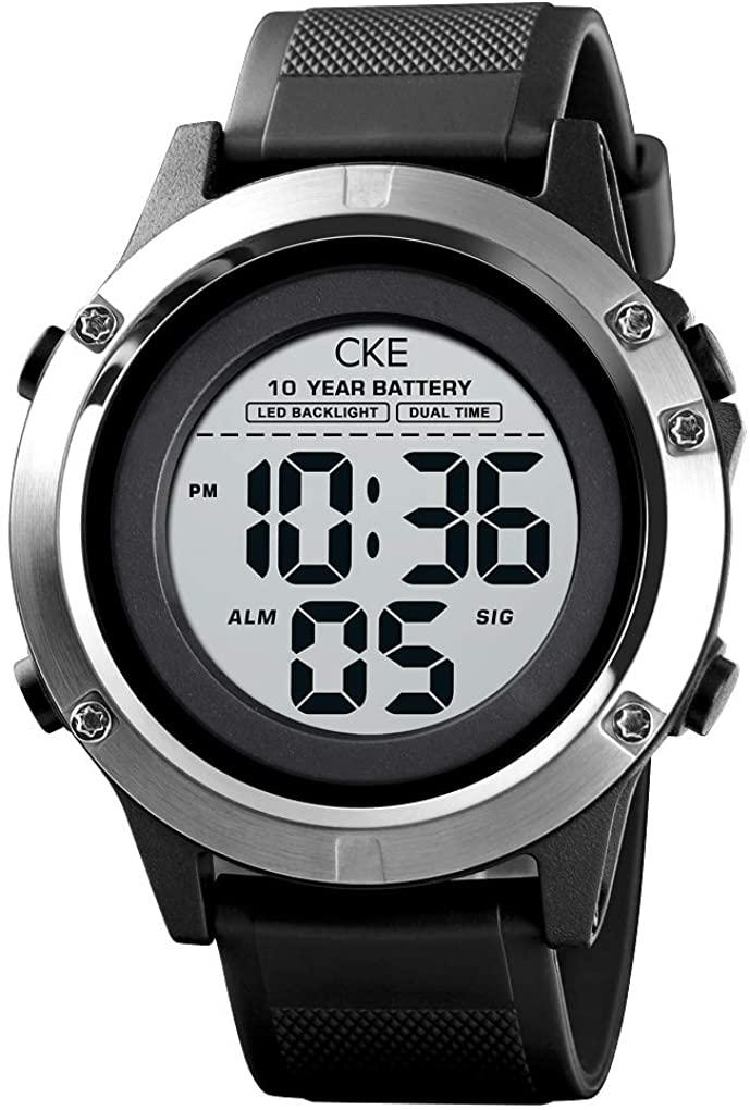 Mens Digital Sports Watch Large Face Military Waterproof Watches for Men with Stopwatch Alarm