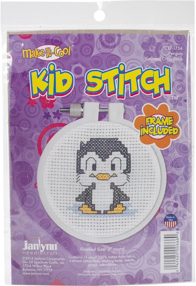 Janlynn Kid Stitch 11 Count Penguin Mini Counted Cross Stitch Kit, 3-Inch