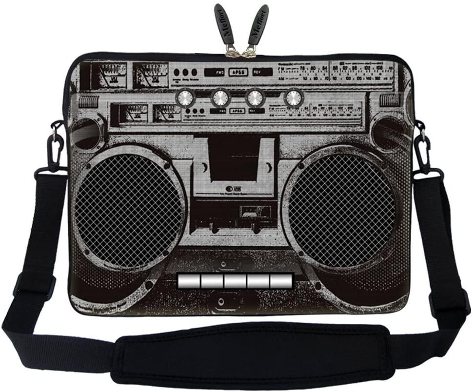 Meffort Inc 14 14.1 Inch Neoprene Laptop Sleeve Bag Carrying Case with Hidden Handle and Adjustable Shoulder Strap (Cassette Player)