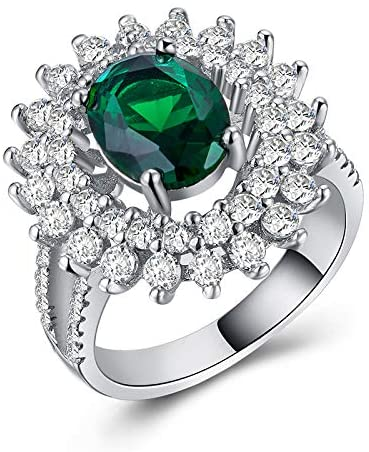 MGZDH Women's Ring Exaggerated Creative Jewelry Plated 925 Silver and Zircon Ring, B1135, 10