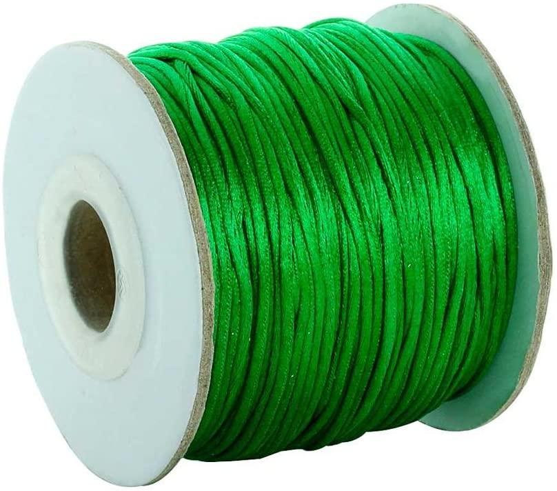 TAOCUTO Store - 80yards/lot 1.5mm Nylon Cord Satin Rattail Silk Macrame Beading Cords Threading String Kumihimo for Jewelry Making Materials (Green)