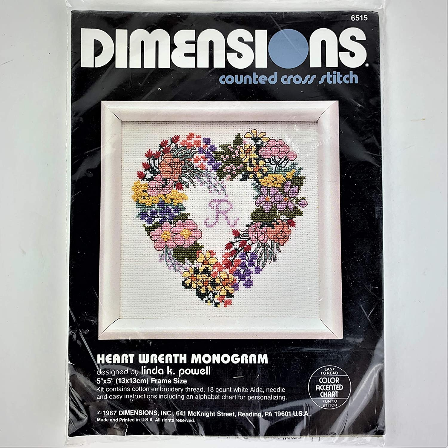 Dimensions Heart Wreath Monogram Small Counted Cross Stitch Kit