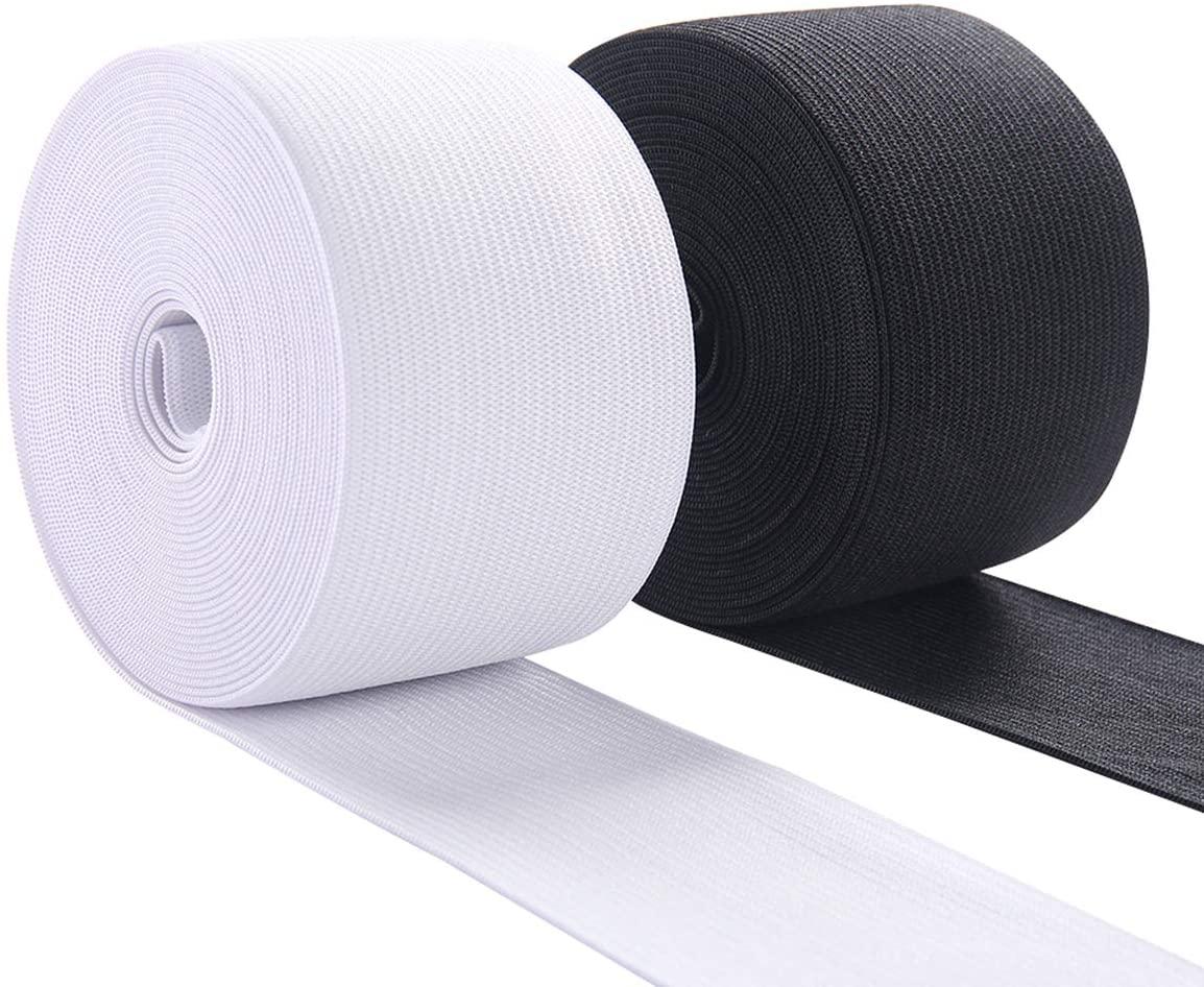 Elastic Band Material for Sewing 2 Inch Wide Braided Elastic Cord Pants Elastic Spool Heavy Stretch for Waistband 10 Yard (5 Yard White,5 Yard Black)