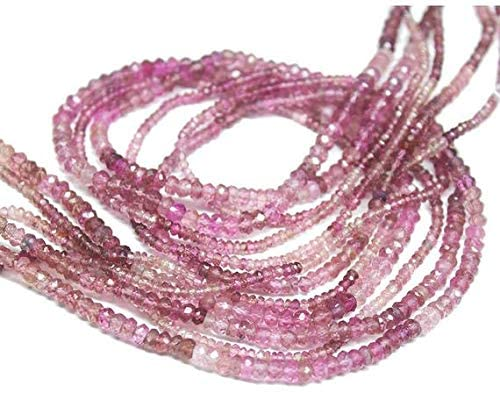 GemAbyss Beads Gemstone Natural Shaded Pink Tourmaline Faceted Rondelle Micro Gemstone Craft Loose Beads Strand 13 Inch Long 2.5mm Code-MVG-26557