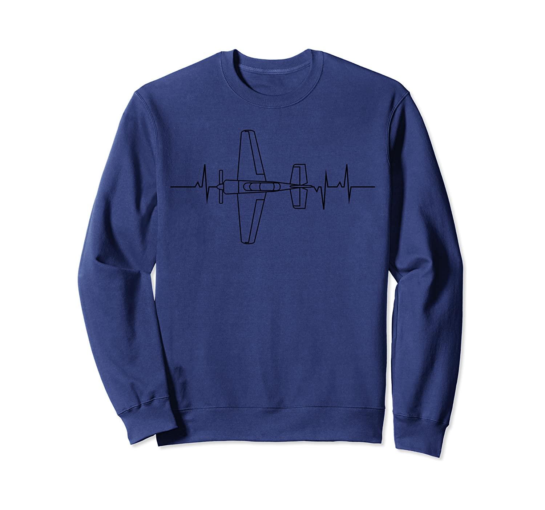 Funny Flying Airplane Aviator Pilot Heartbeat EKG Pulse Rate Sweatshirt
