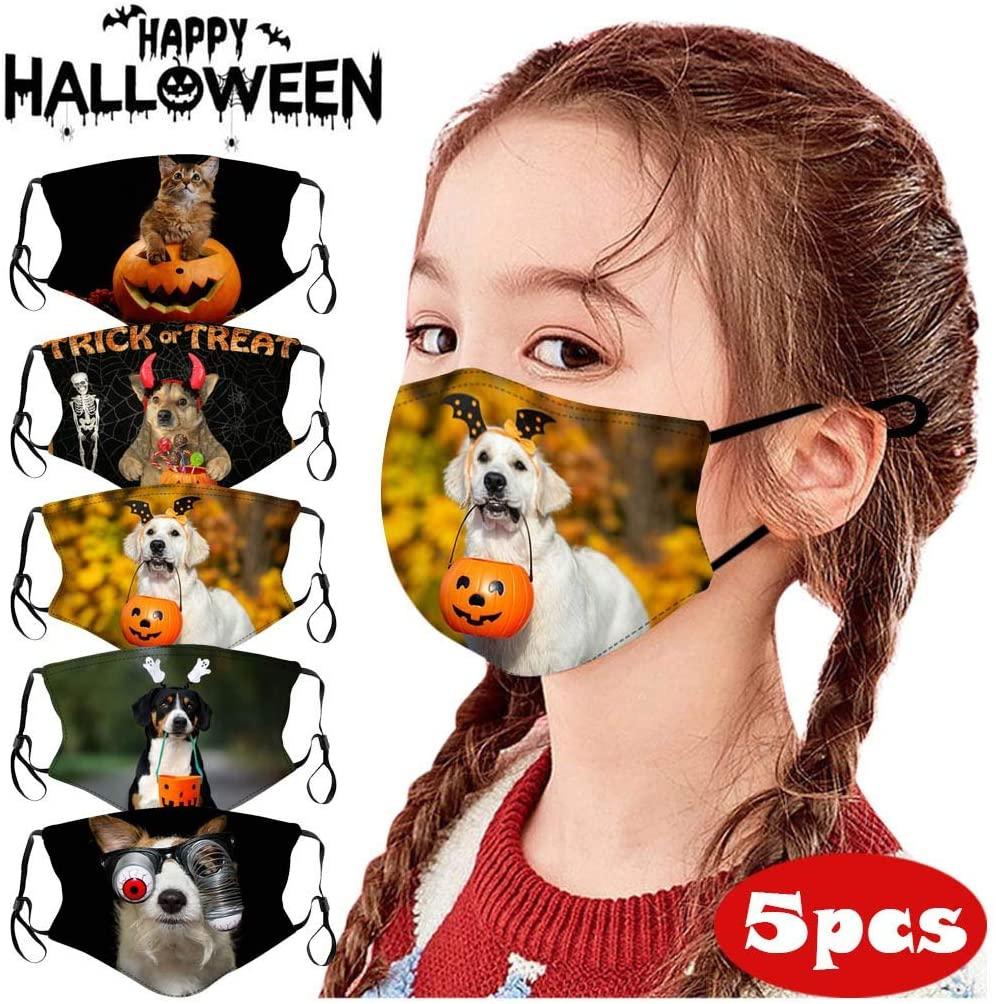 Beyoyo 5Pcs Children Reusable Face Bandanas Halloween Funny Cartoon Print Breathable Seamless Cotton Face Cover