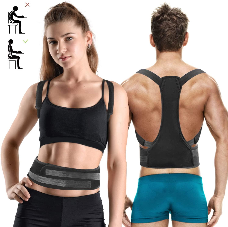 Posture Corrector Back Brace for Women Men - Upper Back Straightener Adjustable Shoulder Spine Straight Device Effective Back Support Upright Trainer Neck Pain Relief (Fits Chest Size 35