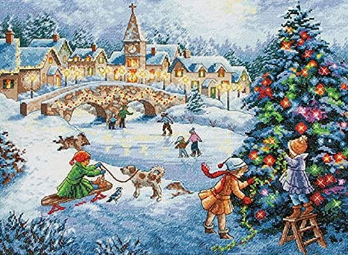 Dimensions Gold Collection Counted Cross Stitch 'Winter Celebration' Christmas Cross Stitch Kit, 16 Count Light Blue Aida, 15'' x 11''