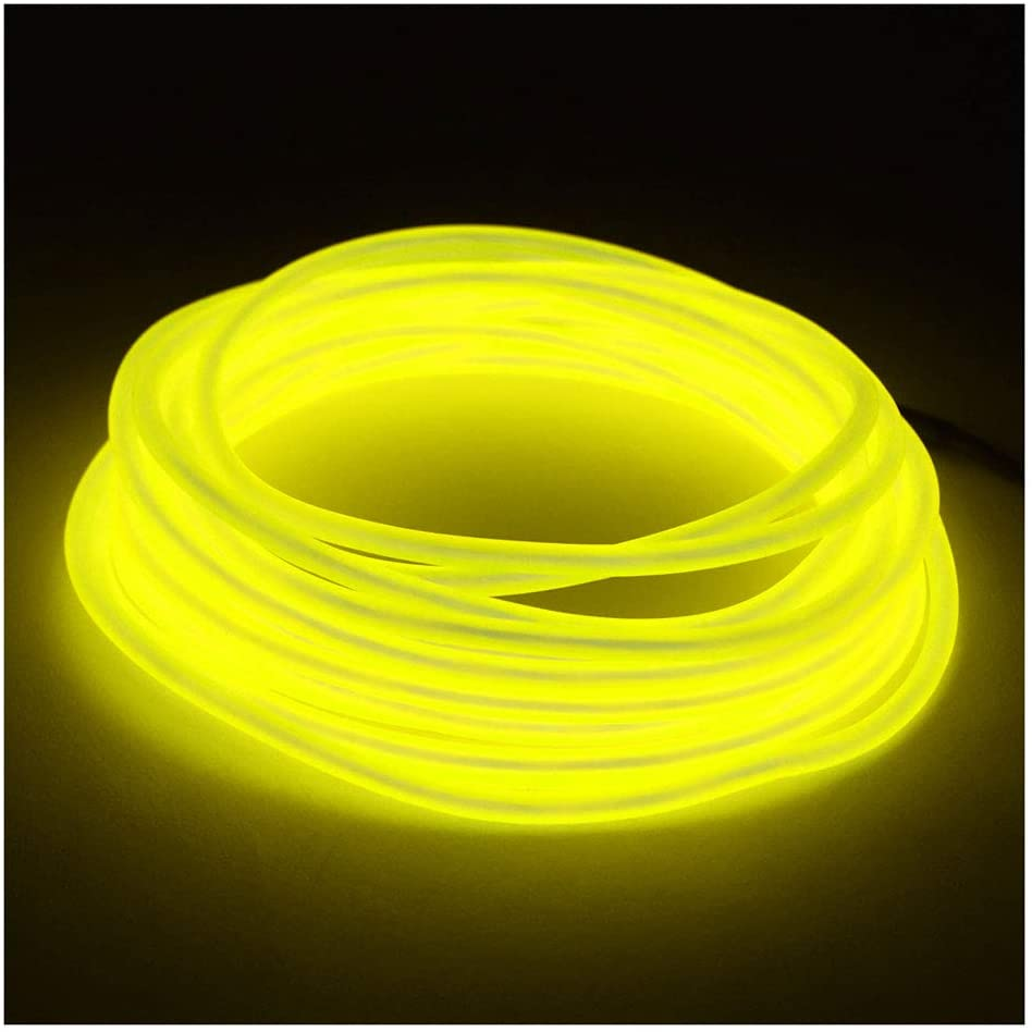 GlowCity 5mm EL Wire Kit - Yellow - 20 FT Premium from