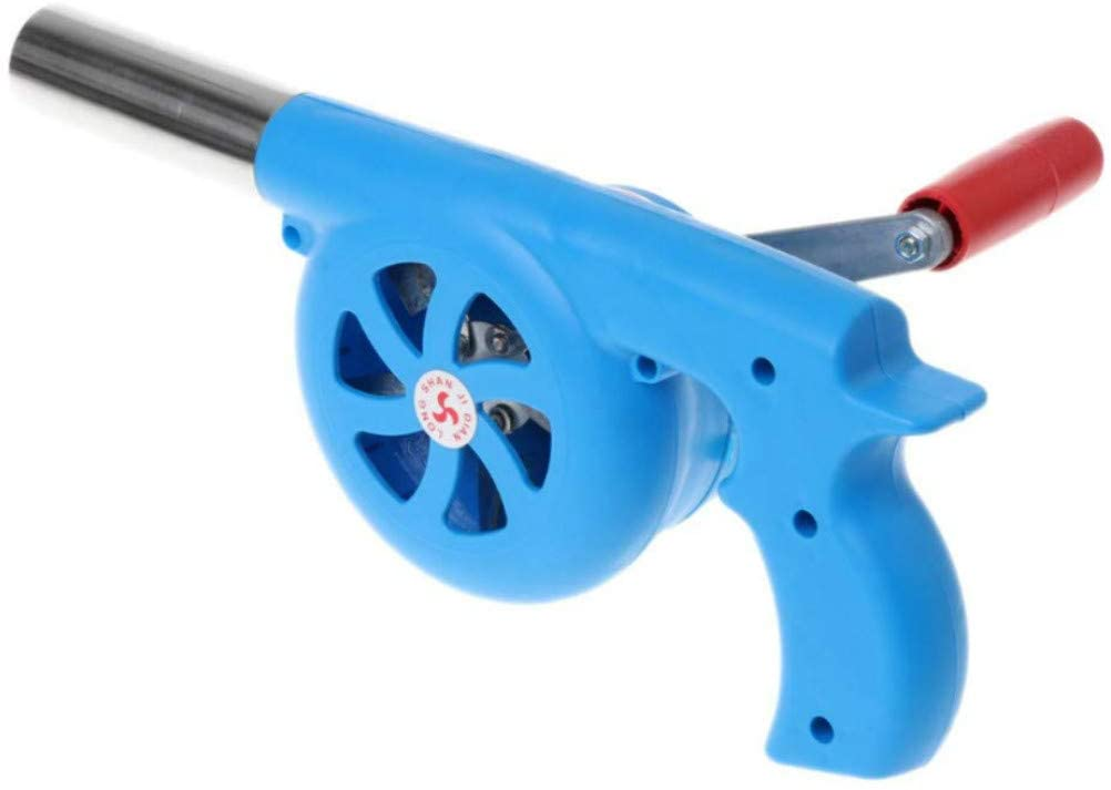 Esweny Outdoor Cooking BBQ Fan Air Blower,Mini Hand Crank Fan Air Blower Grill Picnic Camping Stove Accessories for Barbecue Fire Bellows Hand Crank Tool (Blue)